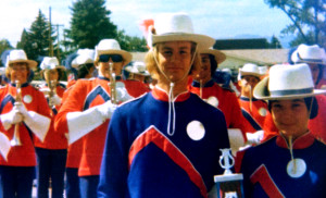 Blue Knights after a parade. (1970s)